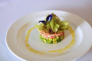 Crab Stick, Avocado, Pickled Ginger, Baby Herbs and Greens with Honey Calamansi Dijon Vinaigrette.jpg